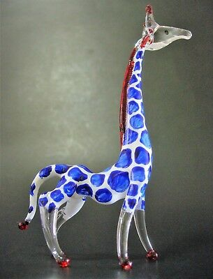 Curio Display Glass GIRAFFE Blue Painted African Glass Animal Glass Ornament