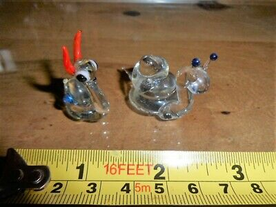 Rare Old Vintage Retro Glass Animals Two Garden Snails Both Excellent Condition