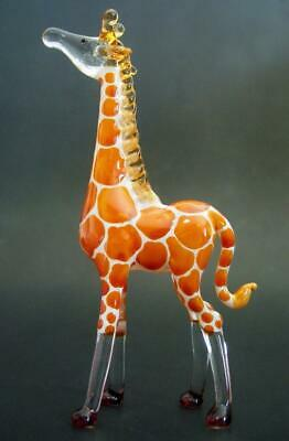 Curio Glass GIRAFFE Orange Painted Coloured Glass Ornament Glass Animal Gift