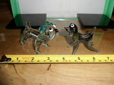 Rare Old Vintage Retro Glass Animals Small Dogs Excellent Condition