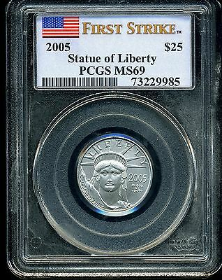 2005 P$25 Statue of Liberty Platinum 1/4 oz American Eagle MS69 PCGS 73229985