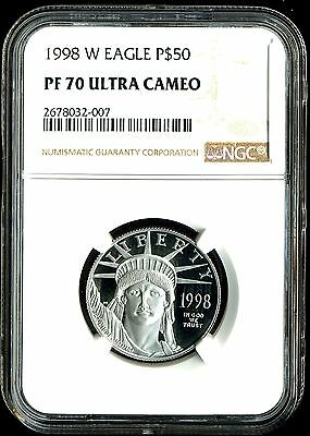 1998-W P$50 Proof Platinum .5 oz American Eagle PF70 Ultra Cameo NGC 2678032-007