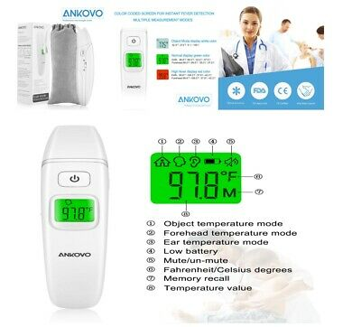 ANKOVO Ear & Forehead Thermometer Medical Digital Clinical Infrared For Baby NEW