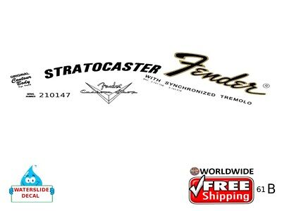 Fender Stratocaster Left handed Guitar Decal Headstock Decal Waterslide 61b