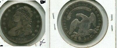 1836 Capped Bust  Silver Half Dollar Type Coin Vg Fine Cl 260M