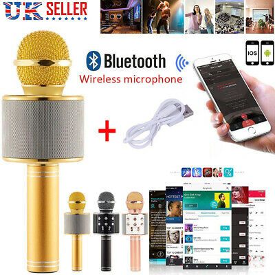 Wireless Bluetooth Microphone Karaoke WS858 Speaker Handheld Mic USB Player KTV