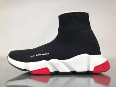 Balenciaga Speed Trainer Runner Unisex Model Black White W/ Red Sole