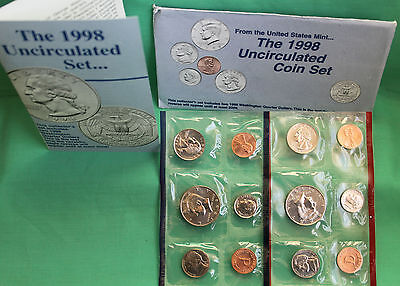 1998 P and D ANNUAL US Mint Uncirculated 10 Coin Set BU Coins with COA