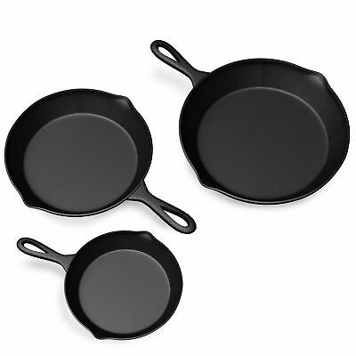 3 CAST IRON SKILLET Pre Seasoned 8 10 6 Inch Stove Oven Fry Pans Cookware Set
