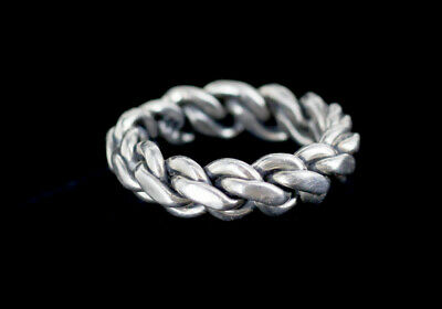 Vintage Sterling Silver 925 Heavy Braid Curb Link Ring Size 7