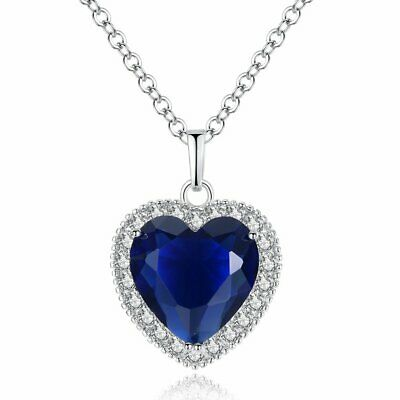 Titanic Heart of The Ocean Pendant Necklace Blue Sapphire Gemstone Womens Dainty