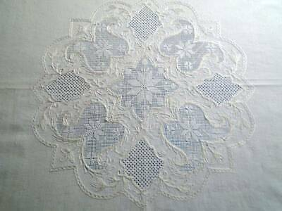 """MAGNIFICENT ELABORATE EXTENSIVELY HAND EMBROIDERED EX.LG.TABLECLOTH~ 66"""" x 52""""."""
