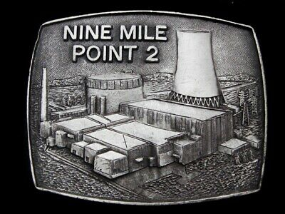 MB15133 VINTAGE 1980s **NINE MILE POINT ** NUCLEAR POWER PLANT PEWTER BUCKLE