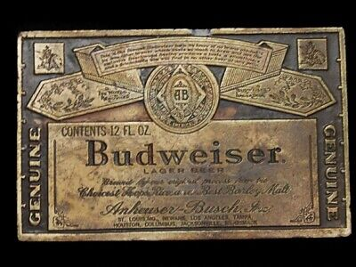 MB07153 VINTAGE 1970s GENUINE **BUDWEISER** KING OF BRASSTONE BEERS BELT BUCKLE