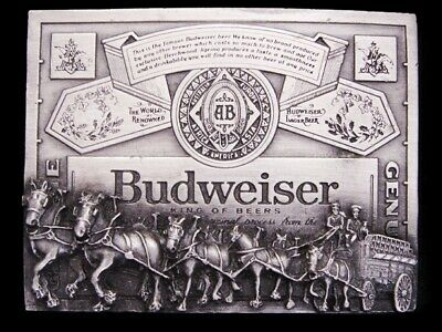 LK17141 VINTAGE 1970s **BUDWEISER KING OF BEERS CLYDESDALES** BEER BELT BUCKLE