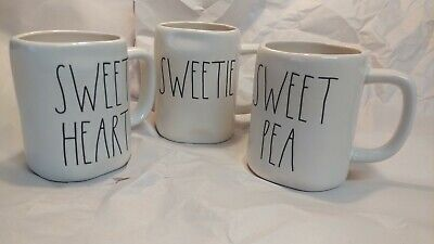 "NEW! Rae Dunn by Magenta L/L ""SWEET HEART""/""SWEETIE""/SWEET PEA Set of 3 Mugs HTF"
