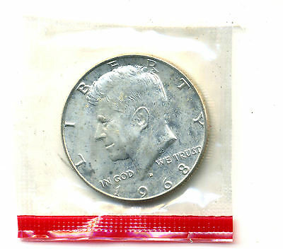 Silver 1968 D Kennedy Half Dollar Gem Uncirculated Cello Government Sealed Coin
