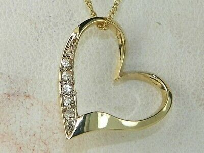14k Yellow Gold Diamond-.05 tcw Heart Pendant Fine Necklace-18""