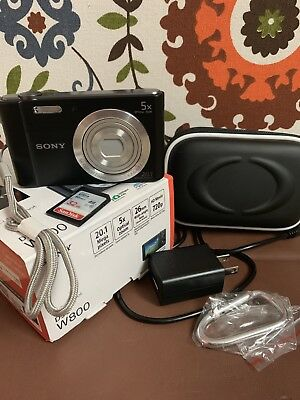 NEW Sony DSC-W800 Cyber-shot 20.1MP Digital Camera, Black w/ Memory Card & Case
