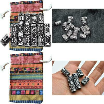 MYAROMA FINDINGS 24pcs/Kit Norse Vikings Runes Beads For Beards Hair Paracord Pe