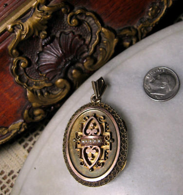 Antique Early Victorian 10k Gold Heavy Locket Pendant for Woman or Man