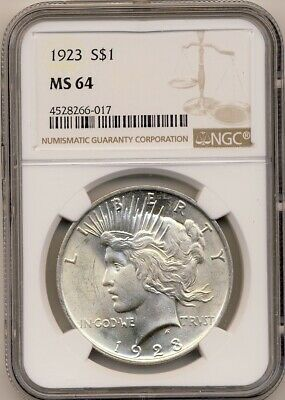 1923 Peace Silver Dollar Graded By Ngc Ms64