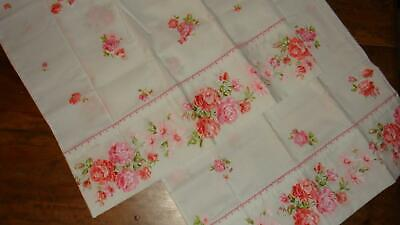 NEW 2 Vintage White Pink & Coral Floral Standard Pillowcases Percale Unused NWOP