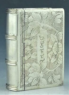 Rare & Exceptional Antique Chinese Sterling Silver Book Form Snuff Box No Rsv!