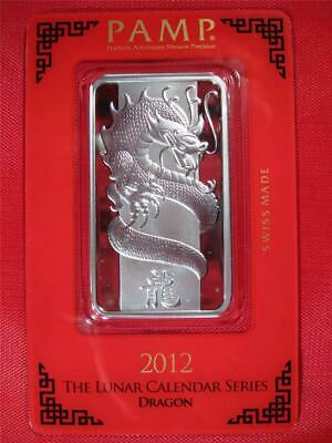 "2012 ~ ""DRAGON"" PAMP SWISS .999 SILVER BAR 1 OZ. SEALED ~ Pamp Suisse"