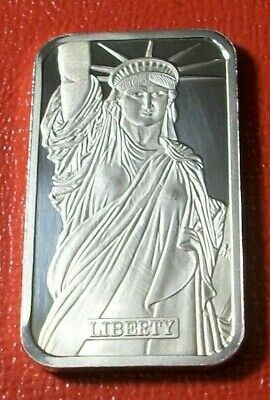 """Statue of Liberty"" Bar 1 oz.999 Silver ""JM""Reverse by Monfra,Tordella & Brooks"
