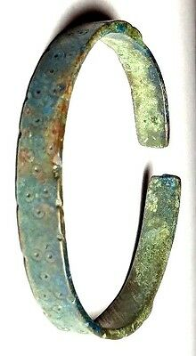 Ancient Thrace Artifact 800/500 Bc Bronze Bracelet With Dot And Circle Design