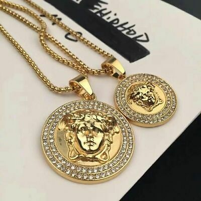 New Top Quality Versace Medusa Head Pendant Gold Plated Luxury Unisex Necklace