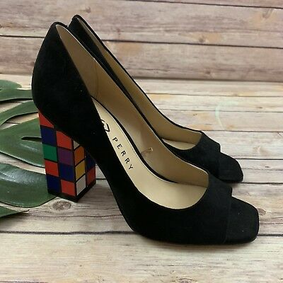 8ccca63bb0e1 Katy Perry Rubik Cube Heels Size 7 New Black Suede Peep Toe Caitlin Pumps
