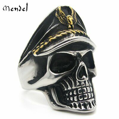 MENDEL Mens Nazi WW2 Skull Officer Ring Stainless Steel WWII Punk Band Size 7-15