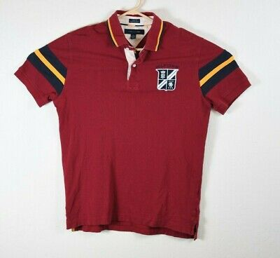 c6f4c26b Tommy Hilfiger Mens Medium Red Yellow Colorblock Polo Shirt Custom Fit Coupe