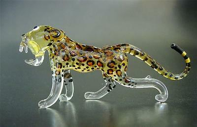 Glass LEOPARD CHEETAH Spotted Wild Cat Painted Glass Ornament Curio Display Gift