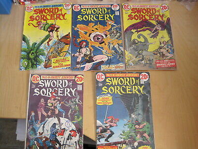 SWORD of SORCERY : COMPLETE 5 ISSUE 1973 DC SERIES by CHAYKIN,ADAMS,WRIGHTSON et
