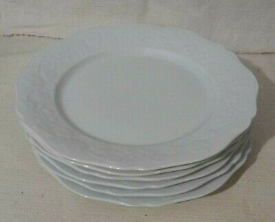 6 assiettes plates porcelaine Limoges blanche fleur relief / France plate set