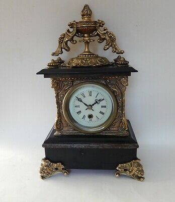 French Black Marble  Case Mantel Clock. Fully working 2927