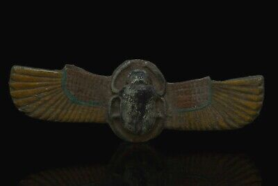 Rare EGYPTIAN SCARAB ANTIQUES Wings HIEROGLYPHS Carved Stone EGYPT STATUE, BC