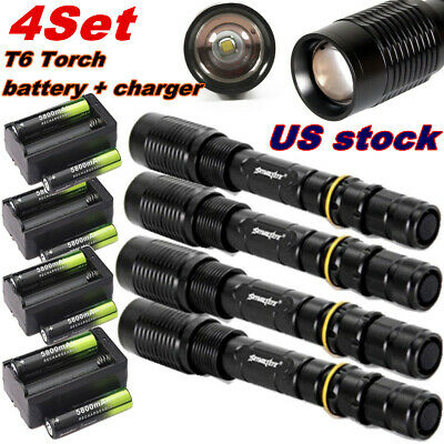 SkyWolfEye Zoomable 50000LM T6 LED Tactical Flashlight Lamp+Charger+18650Battery