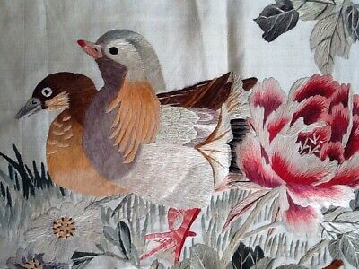 Beautiful Vintage Chinese Ducks Blossom Embroidery On Silk