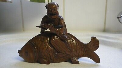 Antique Vintage Carved Japanese Okimono Figure Riding A Carp 16Cm Long