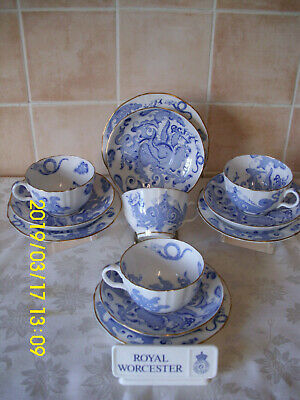 Royal Worcester Blue Dragon Pattern Trio,s Quantity 4