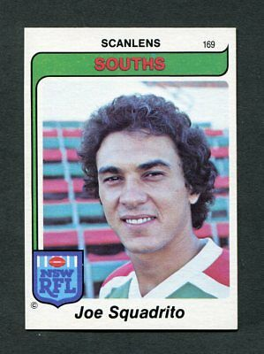 "Scanlens Gum 1980 ""rugby League - #169 Jow Squadrito (Souths)"" Trade Card"