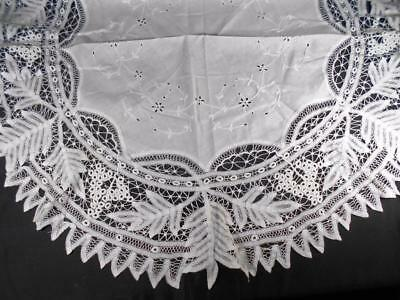 """Awesome Vintage Hnd Done Tape Lace 40"""" Round Topper W/cntr Wht Work Embroidery"""
