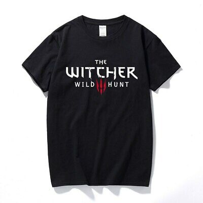 Mens The Witcher 3 T Shirt Game Hunt Short Sleeve Casual Black Tee Tops