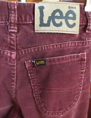 24X31 true Vtg 80s Boys LEE RUSTY CORDS BOOTCUT FLARE DENIM HIPPY JEANS USA