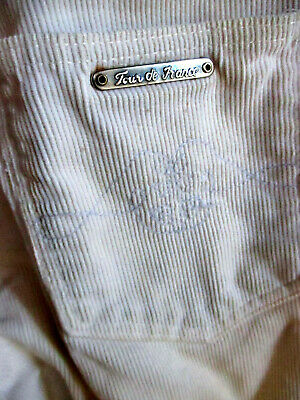 24X28 true Vtg 80s Boys Girls CREAM CORDS BOOTCUT FLARE DISCO POCKET JEANS