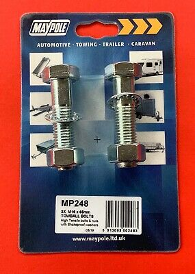 2 x Tow Ball Nuts & Bolts & Shakeproof Washers M16 x 65mm High Tensile 8.8 Grade